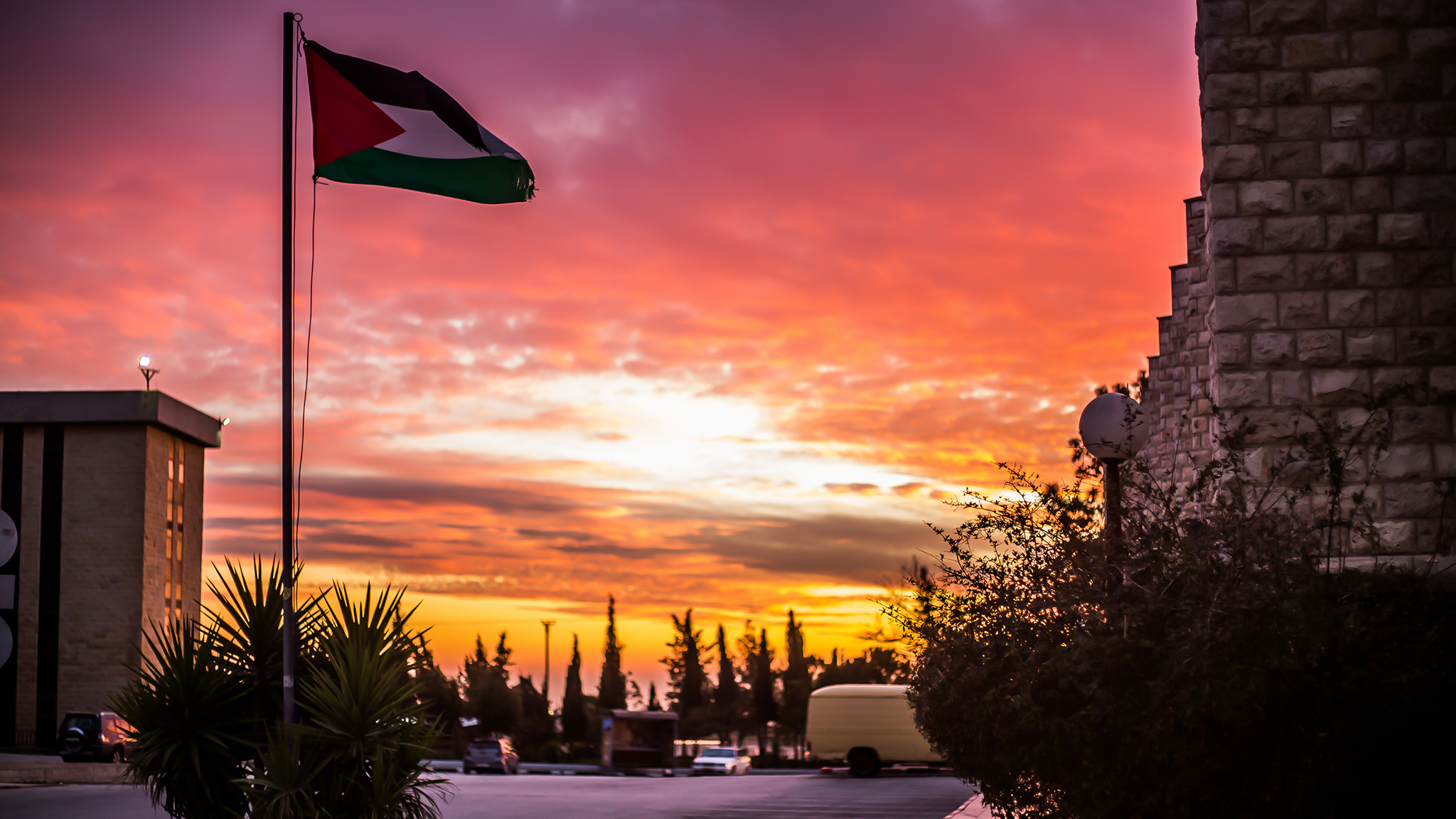 Palestinian flag flying over Birzeit University