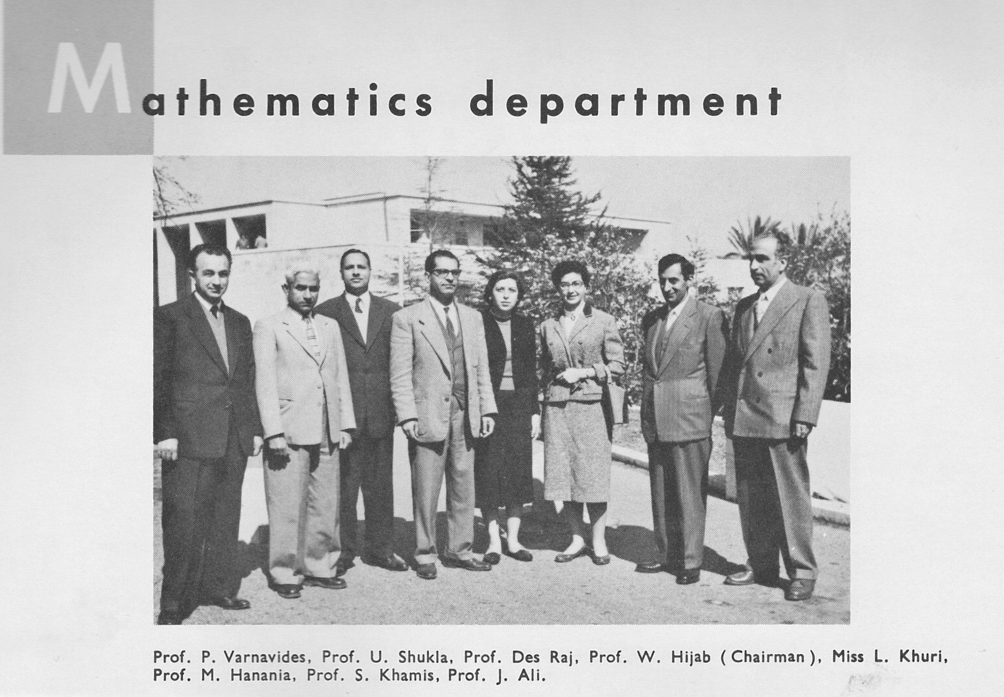 Members of Maths Dept AUB 1958